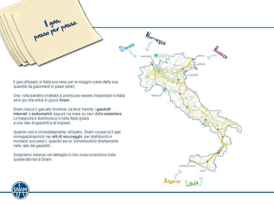 Il gas utilizzato in Italia proviene per la maggior parte della sua quantità da giacimenti in paesi esteri. Una volta estratto e trattato è pronto per