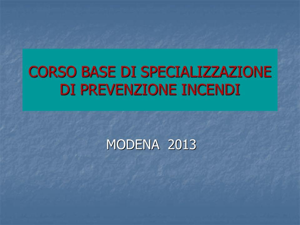 CORSO BASE DI SPECIALIZZAZIONE DI PREVENZIONE INCENDI MODENA 2013