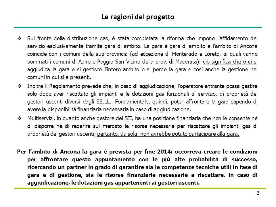 Le ragioni del progetto 3 Sul fronte della distribuzione gas, è stata completata la riforma che impone laffidamento del servizio esclusivamente tramit