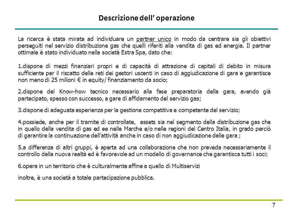 Descrizione dell operazione 7 La ricerca è stata mirata ad individuare un partner unico in modo da centrare sia gli obiettivi perseguiti nel servizio