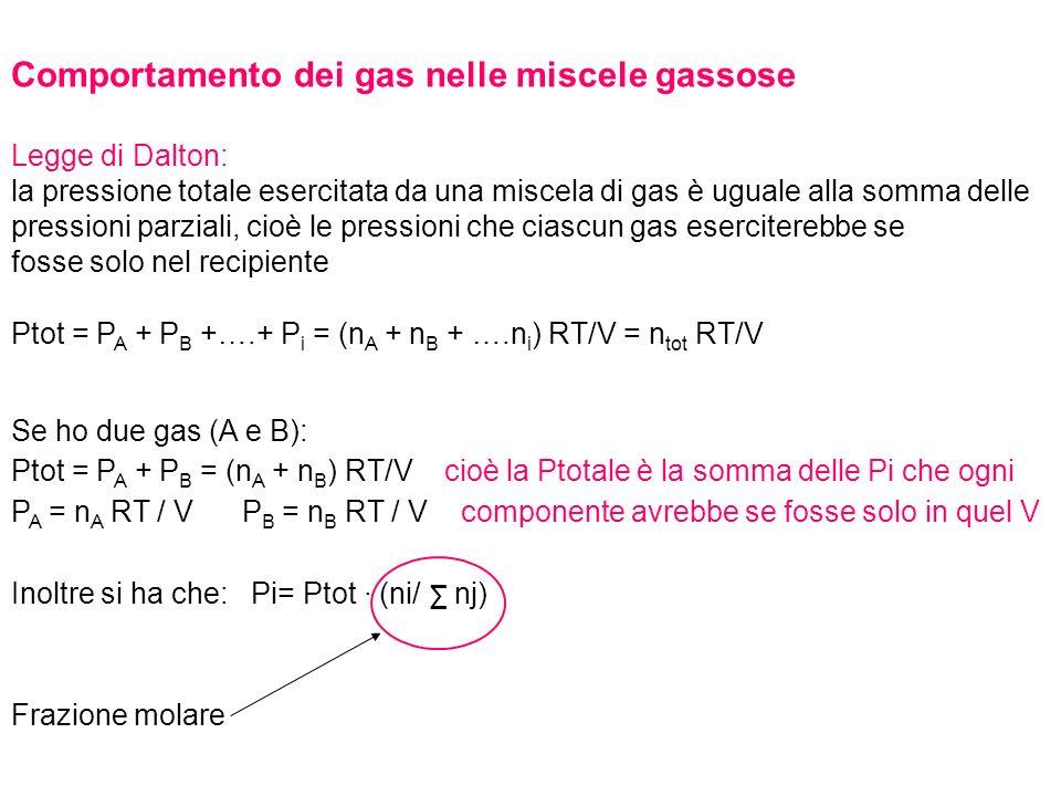 Comportamento dei gas nelle miscele gassose Legge di Dalton: la pressione totale esercitata da una miscela di gas è uguale alla somma delle pressioni