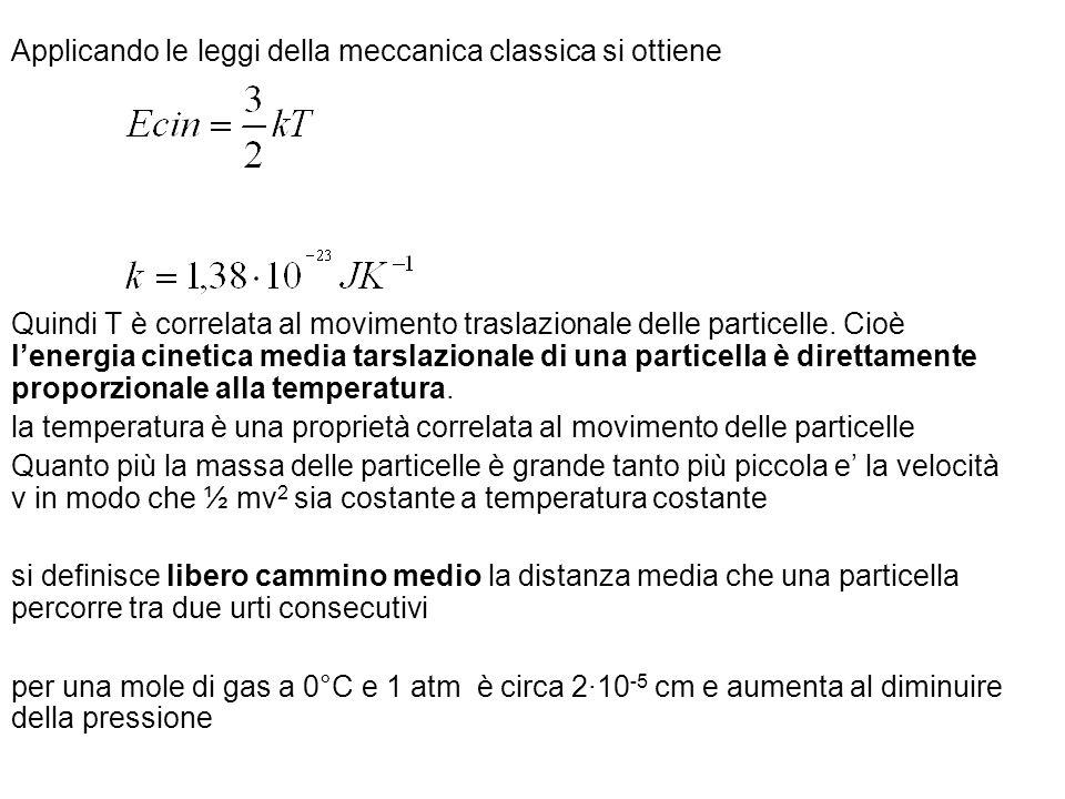 Applicando le leggi della meccanica classica si ottiene Quindi T è correlata al movimento traslazionale delle particelle. Cioè lenergia cinetica media