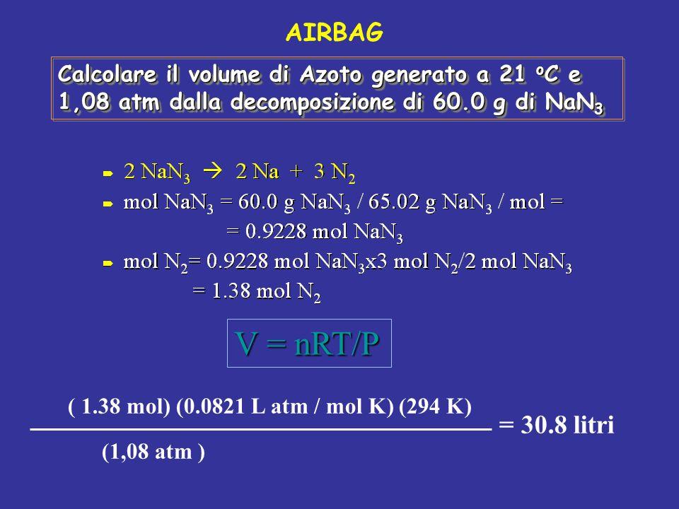 Calcolare il volume di Azoto generato a 21 o C e 1,08 atm dalla decomposizione di 60.0 g di NaN 3 V = nRT/P ( 1.38 mol) (0.0821 L atm / mol K) (294 K)