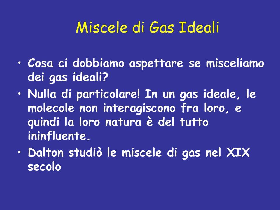 Miscele di Gas Ideali Cosa ci dobbiamo aspettare se misceliamo dei gas ideali? Nulla di particolare! In un gas ideale, le molecole non interagiscono f