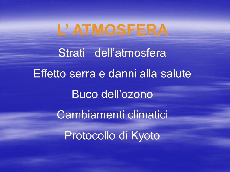 L ATMOSFERA Strati dellatmosfera Effetto serra e danni alla salute Buco dellozono Cambiamenti climatici Protocollo di Kyoto