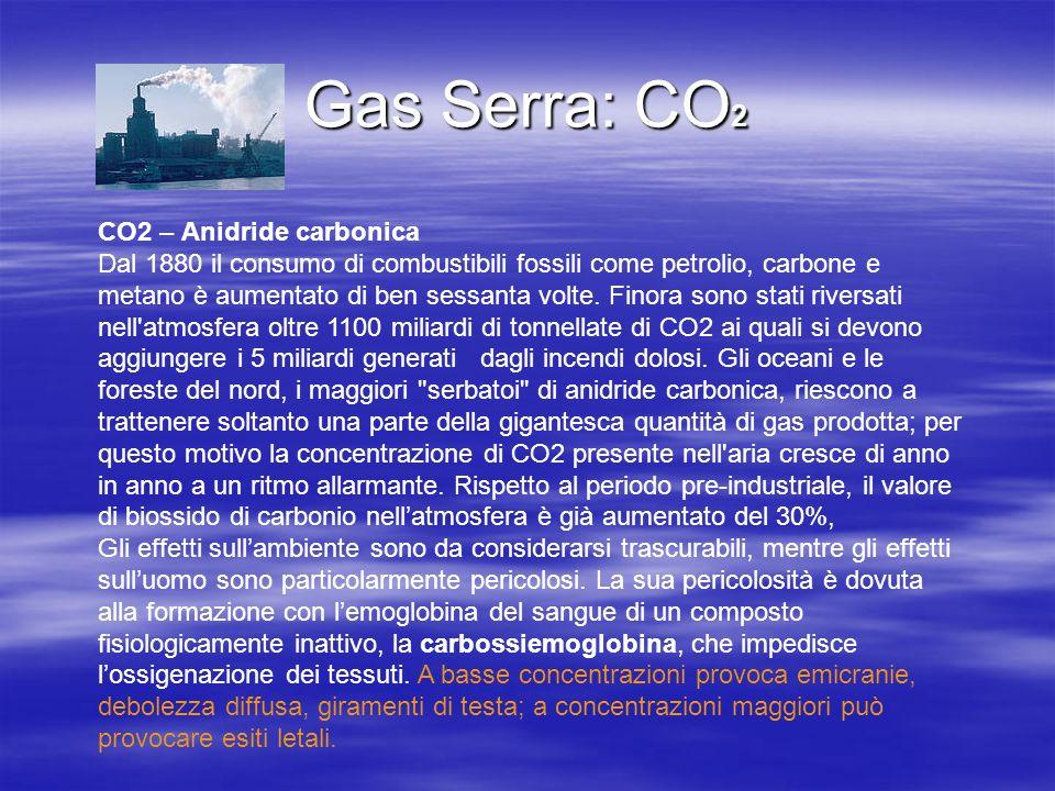 Gas Serra: CO 2 CO2 – Anidride carbonica Dal 1880 il consumo di combustibili fossili come petrolio, carbone e metano è aumentato di ben sessanta volte