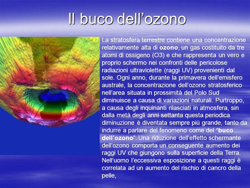 Il buco dellozono La stratosfera terrestre contiene una concentrazione relativamente alta di ozono, un gas costituito da tre atomi di ossigeno (O3) e