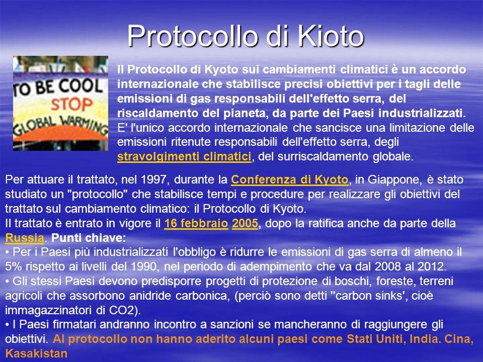 Protocollo di Kioto Il Protocollo di Kyoto sui cambiamenti climatici è un accordo internazionale che stabilisce precisi obiettivi per i tagli delle em