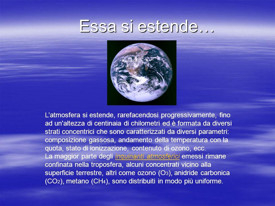 Essa si estende… Latmosfera si estende, rarefacendosi progressivamente, fino ad un'altezza di centinaia di chilometri ed è formata da diversi strati c