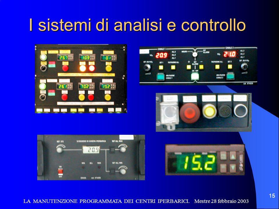 LA MANUTENZIONE PROGRAMMATA DEI CENTRI IPERBARICI. Mestre 28 febbraio 2003 15 I sistemi di analisi e controllo