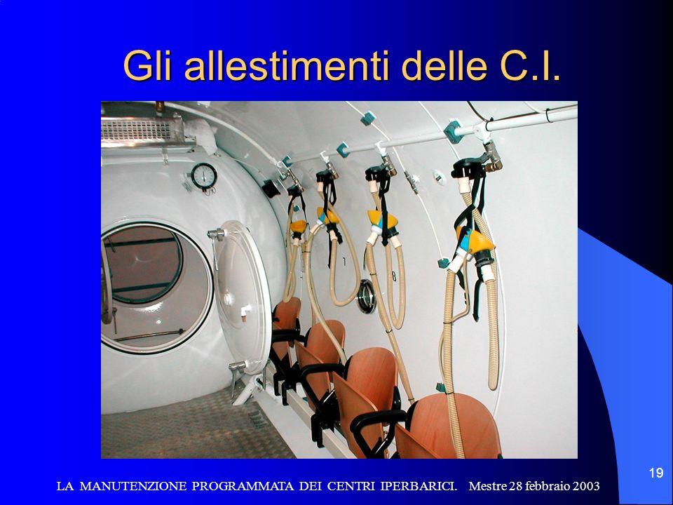 LA MANUTENZIONE PROGRAMMATA DEI CENTRI IPERBARICI. Mestre 28 febbraio 2003 19 Gli allestimenti delle C.I.