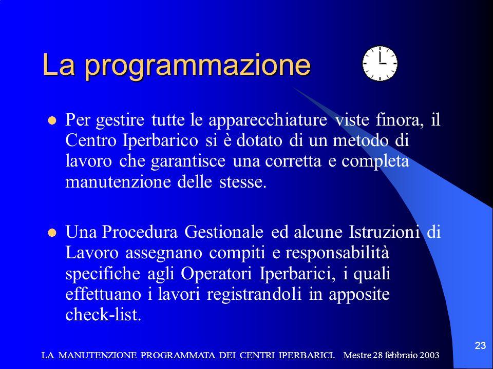 LA MANUTENZIONE PROGRAMMATA DEI CENTRI IPERBARICI. Mestre 28 febbraio 2003 23 La programmazione Per gestire tutte le apparecchiature viste finora, il