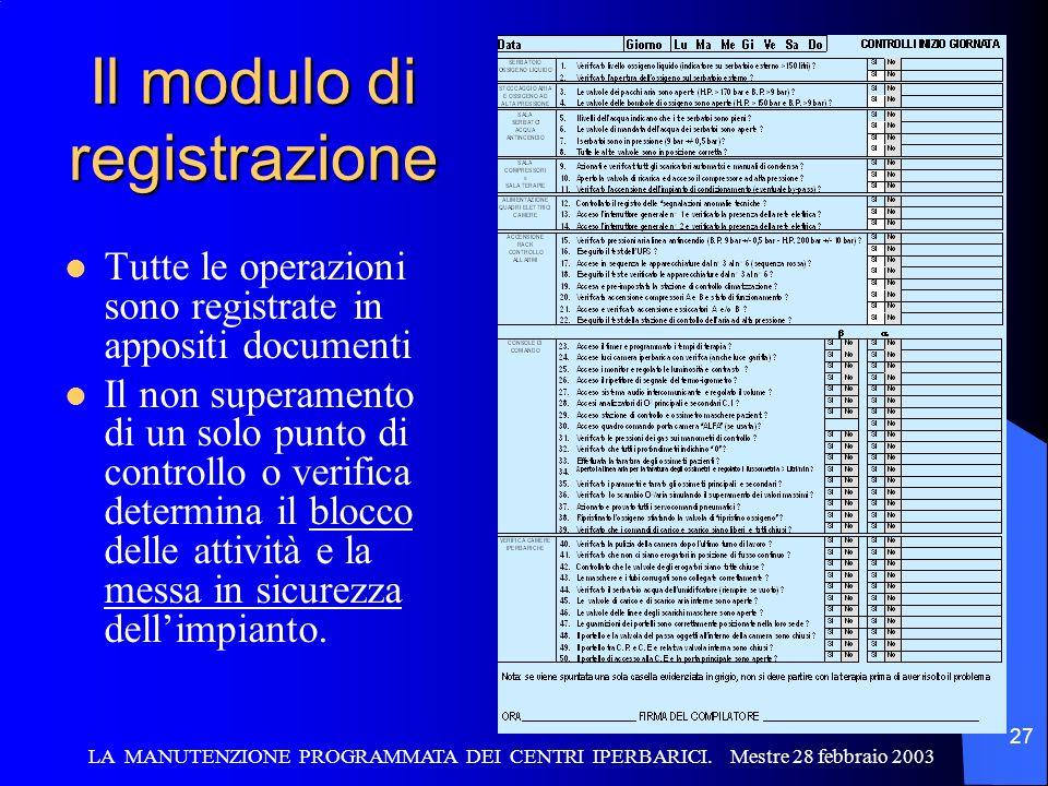 LA MANUTENZIONE PROGRAMMATA DEI CENTRI IPERBARICI. Mestre 28 febbraio 2003 27 Il modulo di registrazione Tutte le operazioni sono registrate in apposi