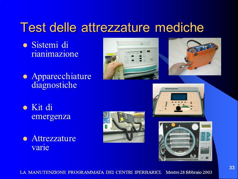 LA MANUTENZIONE PROGRAMMATA DEI CENTRI IPERBARICI. Mestre 28 febbraio 2003 33 Test delle attrezzature mediche Sistemi di rianimazione Apparecchiature