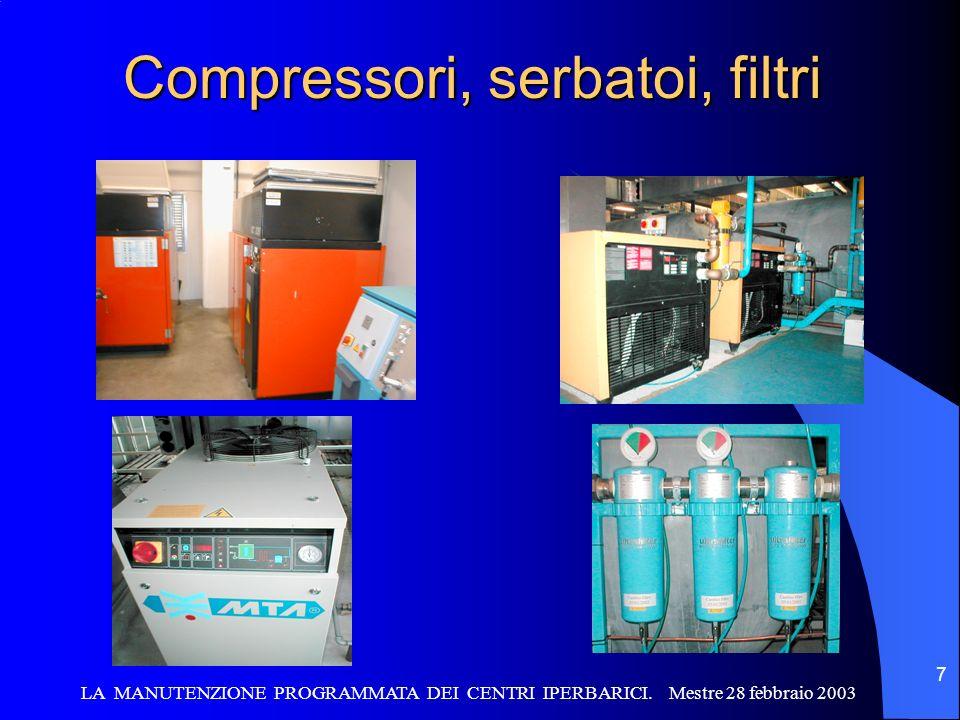LA MANUTENZIONE PROGRAMMATA DEI CENTRI IPERBARICI. Mestre 28 febbraio 2003 7 Compressori, serbatoi, filtri