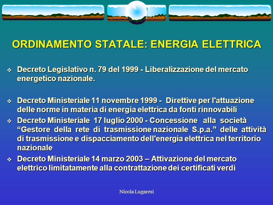 Nicola Lugaresi ORDINAMENTO STATALE: ENERGIA ELETTRICA Decreto Legislativo n.