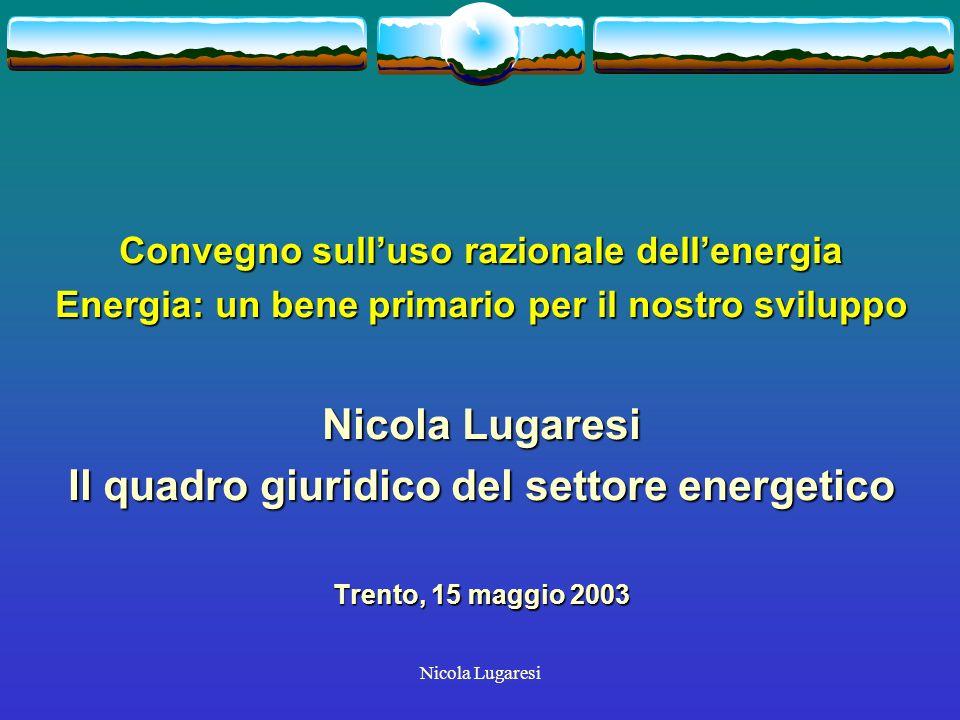 Nicola Lugaresi COMUNITA EUROPEA: DOCUMENTI GENERALI Libro verde sulle fonti energetiche rinnovabili (1996) Libro verde sulle fonti energetiche rinnovabili (1996) Libro bianco Energia per il futuro: le fonti energetiche rinnovabili (1998) Libro bianco Energia per il futuro: le fonti energetiche rinnovabili (1998) Libro verde Commissione Verso una strategia europea di sicurezza dellapprovvigionamento energetico (2000) Libro verde Commissione Verso una strategia europea di sicurezza dellapprovvigionamento energetico (2000)