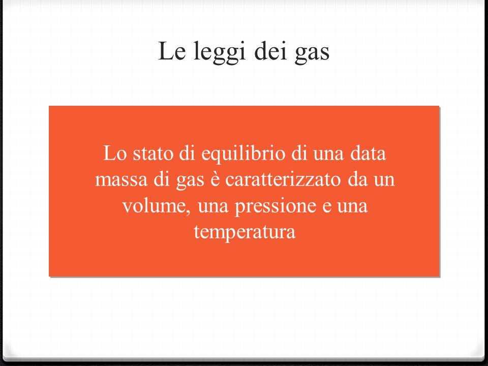 Le leggi dei gas Lo stato di equilibrio di una data massa di gas è caratterizzato da un volume, una pressione e una temperatura