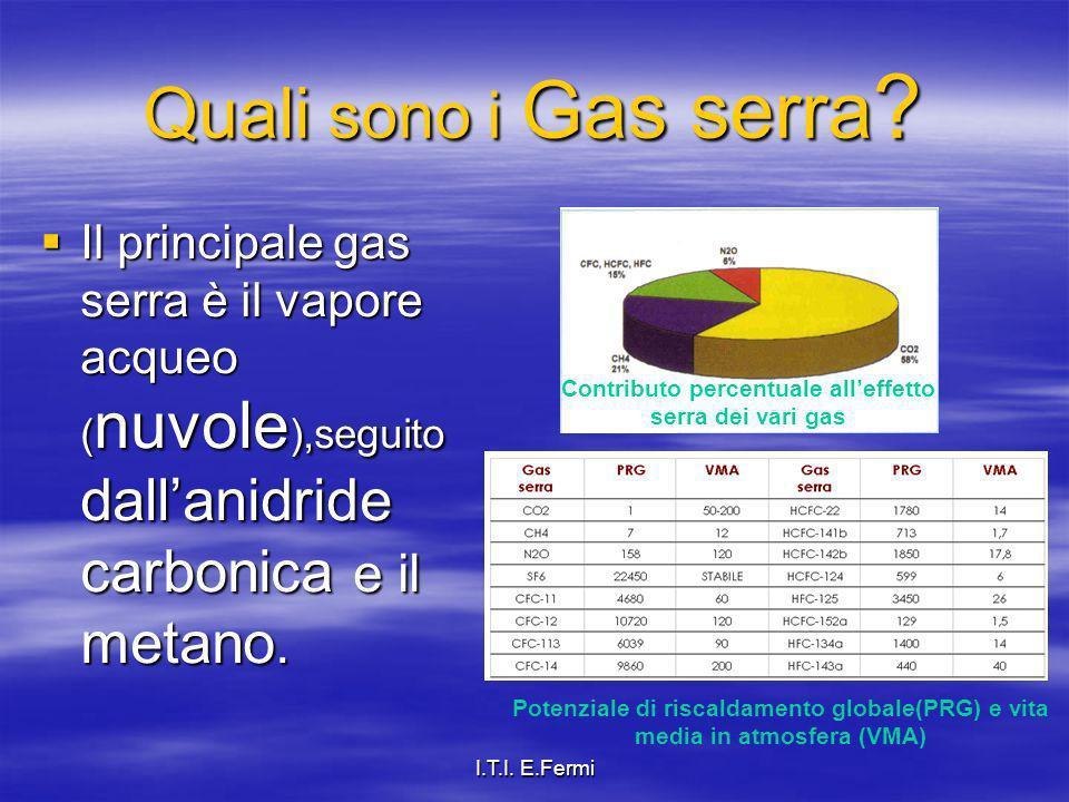 I.T.I. E.Fermi Quali sono i Gas serra ? Il principale gas serra è il vapore acqueo ( nuvole ),seguito dallanidride carbonica e il metano. Il principal