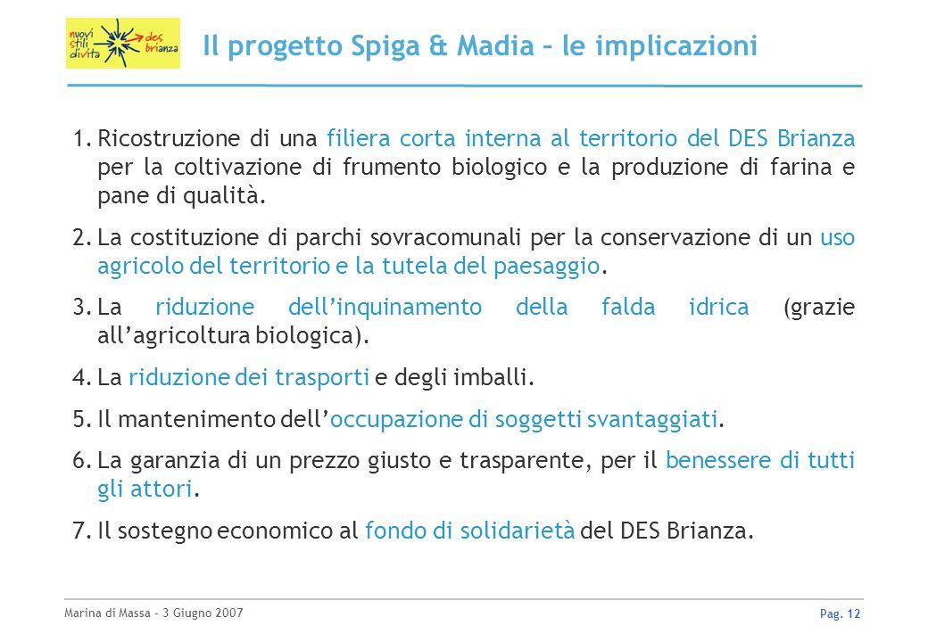 Marina di Massa – 3 Giugno 2007 Pag. 12 Il progetto Spiga & Madia – le implicazioni 1.Ricostruzione di una filiera corta interna al territorio del DES