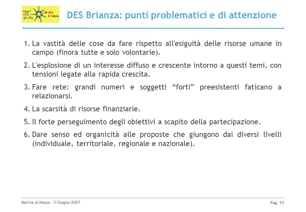 Marina di Massa – 3 Giugno 2007 Pag. 13 DES Brianza: punti problematici e di attenzione 1.La vastità delle cose da fare rispetto all'esiguità delle ri