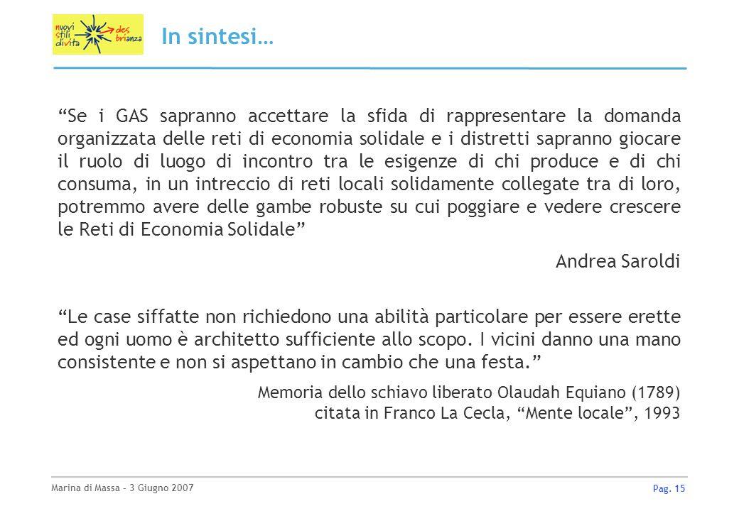 Marina di Massa – 3 Giugno 2007 Pag. 15 In sintesi… Se i GAS sapranno accettare la sfida di rappresentare la domanda organizzata delle reti di economi