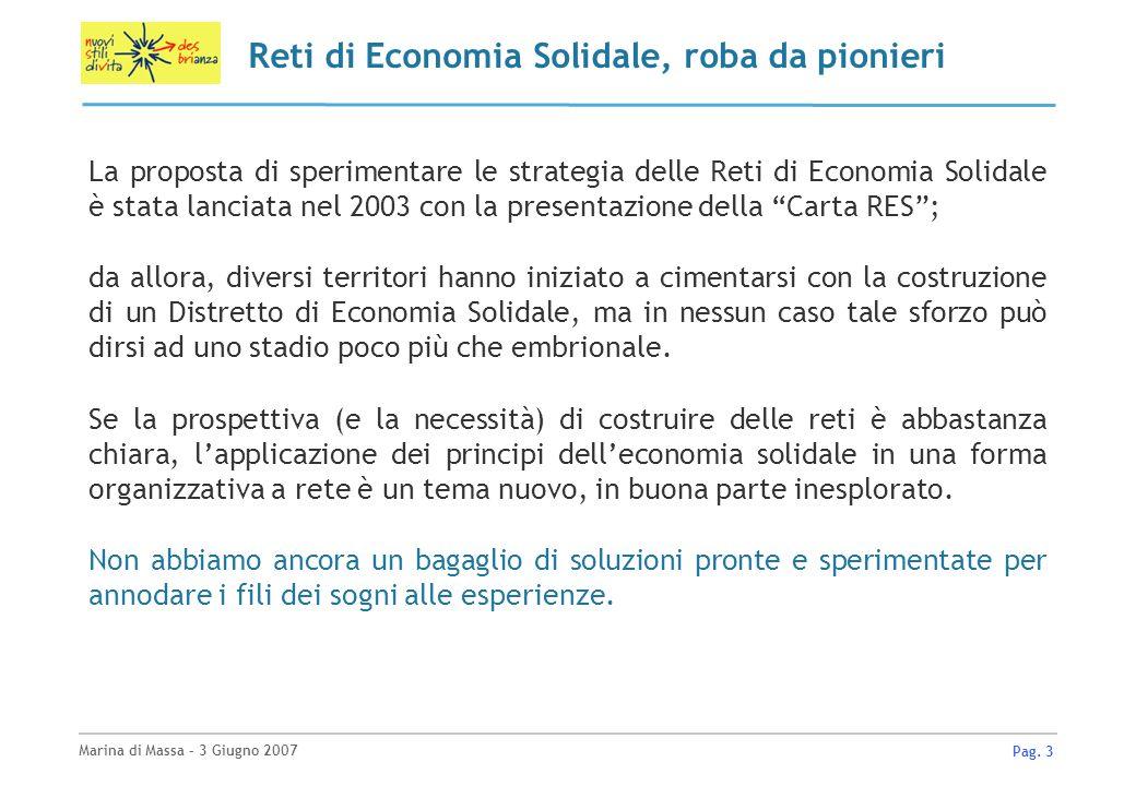 Marina di Massa – 3 Giugno 2007 Pag. 3 Reti di Economia Solidale, roba da pionieri La proposta di sperimentare le strategia delle Reti di Economia Sol