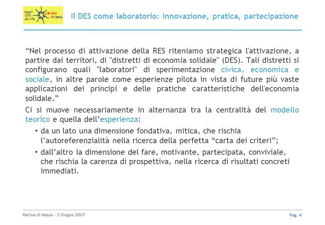 Marina di Massa – 3 Giugno 2007 Pag. 4 Il DES come laboratorio: innovazione, pratica, partecipazione Nel processo di attivazione della RES riteniamo s