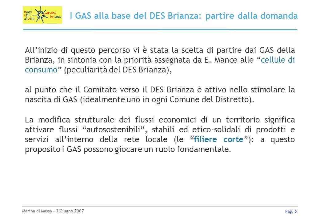 Marina di Massa – 3 Giugno 2007 Pag. 6 I GAS alla base del DES Brianza: partire dalla domanda Allinizio di questo percorso vi è stata la scelta di par