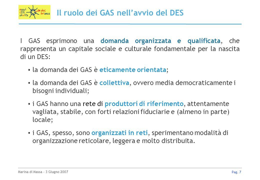 Marina di Massa – 3 Giugno 2007 Pag. 7 Il ruolo dei GAS nellavvio del DES I GAS esprimono una domanda organizzata e qualificata, che rappresenta un ca