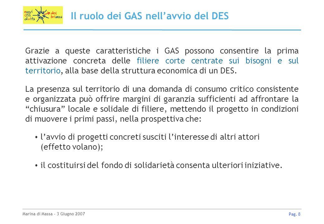 Marina di Massa – 3 Giugno 2007 Pag. 8 Il ruolo dei GAS nellavvio del DES Grazie a queste caratteristiche i GAS possono consentire la prima attivazion