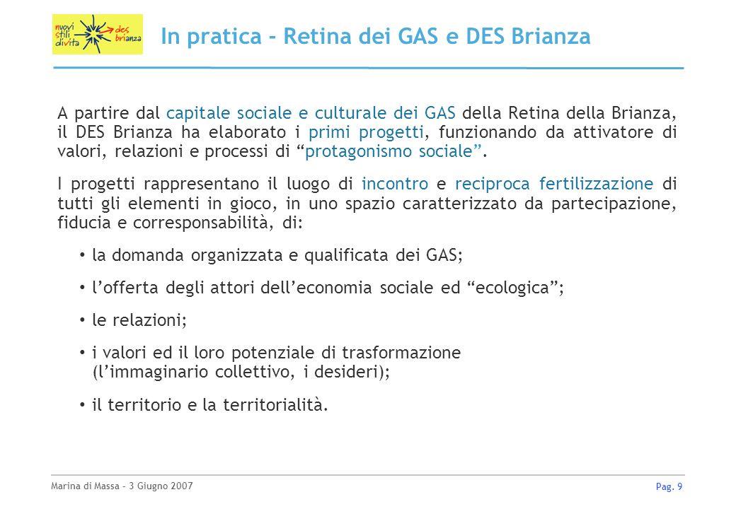 Marina di Massa – 3 Giugno 2007 Pag. 9 In pratica - Retina dei GAS e DES Brianza A partire dal capitale sociale e culturale dei GAS della Retina della