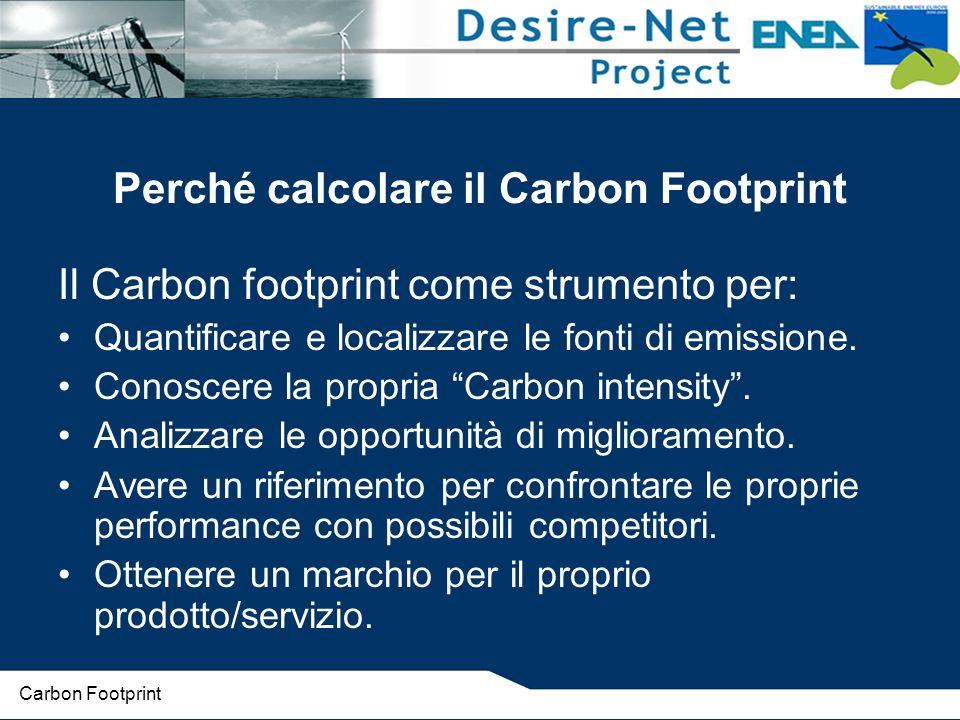 Perché calcolare il Carbon Footprint Il Carbon footprint come strumento per: Quantificare e localizzare le fonti di emissione.