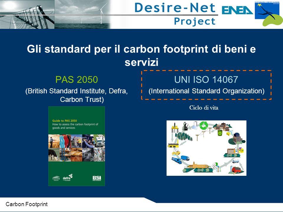 Gli standard per il carbon footprint di beni e servizi PAS 2050 (British Standard Institute, Defra, Carbon Trust) UNI ISO 14067 (International Standard Organization) Ciclo di vita Carbon Footprint