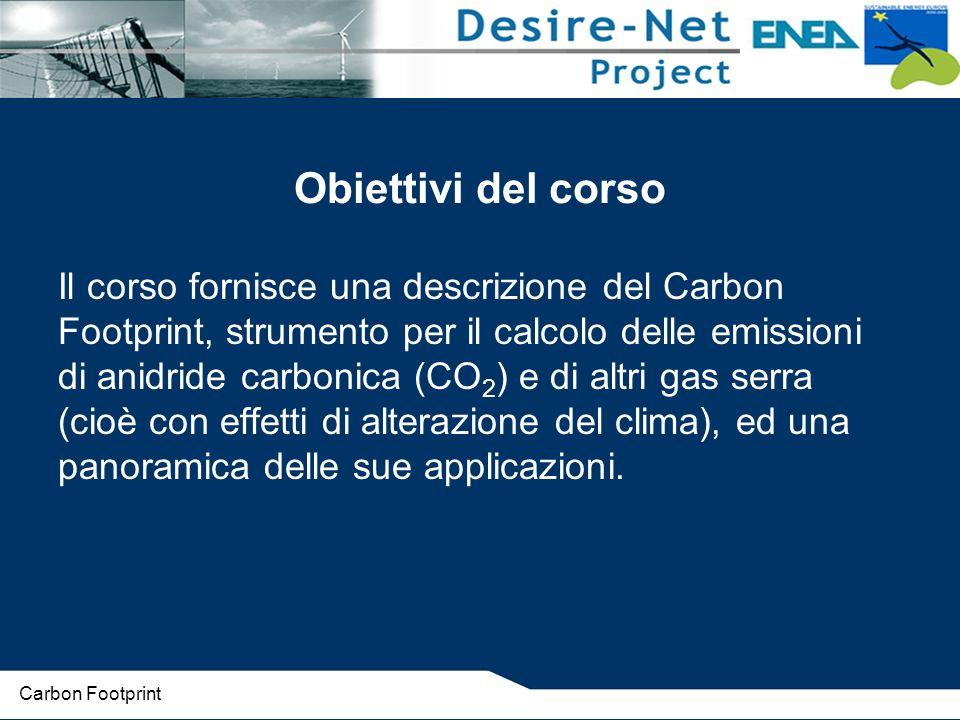 Da cosa deriva Biossido di carbonio - CO 2 : Combustibile per energia e trasporti Processi di produzione Ossido di azoto - N 2 O : Industria chimica Agricoltura Metano - CH 4 : Rifiuti (discariche, attività naturali) Idrofluorocarburi – HFC e Perfluorocarburi PFC : Refrigeranti Industria chimica, elettronica e di alluminio Spray e schiume Esafluoruro di zolfo - SF 6 : Industria elettronica Fusione del magnesio Carbon Footprint