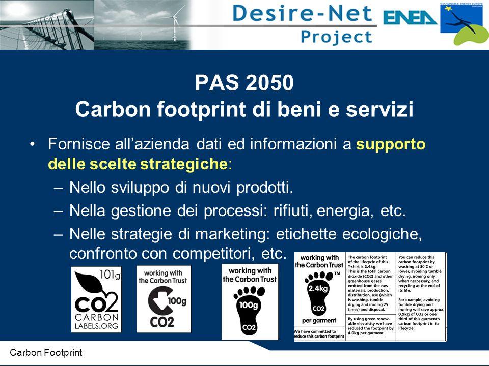 PAS 2050 Carbon footprint di beni e servizi Fornisce allazienda dati ed informazioni a supporto delle scelte strategiche: –Nello sviluppo di nuovi prodotti.