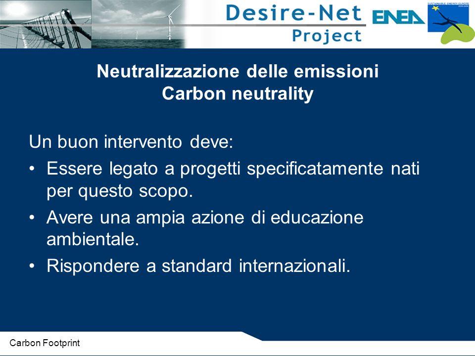 Neutralizzazione delle emissioni Carbon neutrality Un buon intervento deve: Essere legato a progetti specificatamente nati per questo scopo.