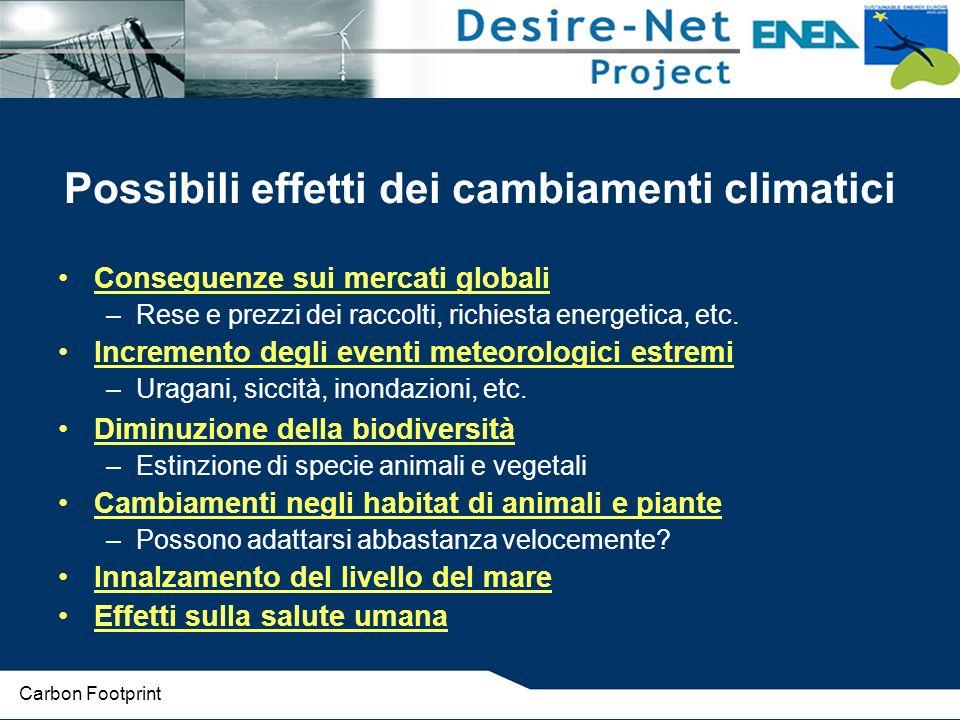 Possibili effetti dei cambiamenti climatici Conseguenze sui mercati globali –Rese e prezzi dei raccolti, richiesta energetica, etc.