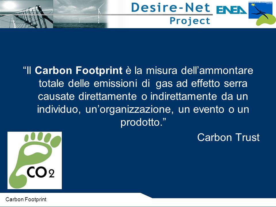 Il Carbon Footprint è la misura dellammontare totale delle emissioni di gas ad effetto serra causate direttamente o indirettamente da un individuo, unorganizzazione, un evento o un prodotto.