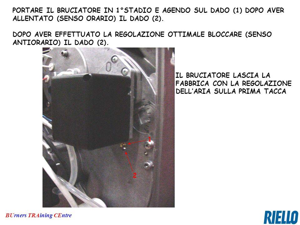 BUrners TRAining CEntre PORTARE IL BRUCIATORE IN 1°STADIO E AGENDO SUL DADO (1) DOPO AVER ALLENTATO (SENSO ORARIO) IL DADO (2). DOPO AVER EFFETTUATO L