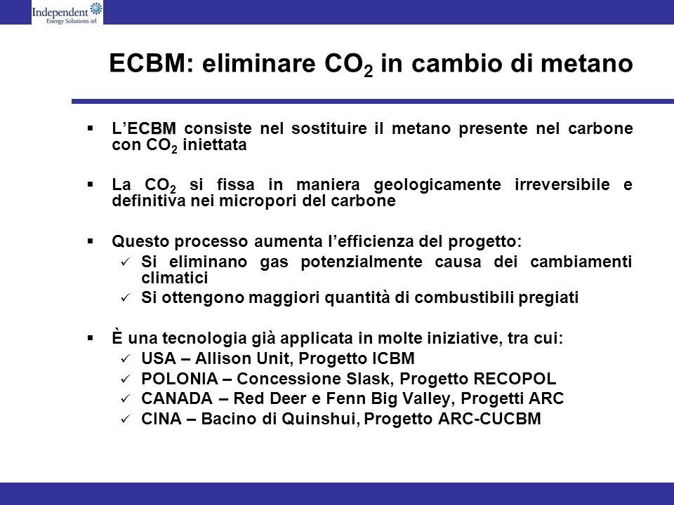 ECBM: eliminare CO 2 in cambio di metano CBM LECBM consiste nel sostituire il metano presente nel carbone con CO 2 iniettata La CO 2 si fissa in maniera geologicamente irreversibile e definitiva nei micropori del carbone Questo processo aumenta lefficienza del progetto: Si eliminano gas potenzialmente causa dei cambiamenti climatici Si ottengono maggiori quantità di combustibili pregiati È una tecnologia già applicata in molte iniziative, tra cui: USA – Allison Unit, Progetto ICBM POLONIA – Concessione Slask, Progetto RECOPOL CANADA – Red Deer e Fenn Big Valley, Progetti ARC CINA – Bacino di Quinshui, Progetto ARC-CUCBM