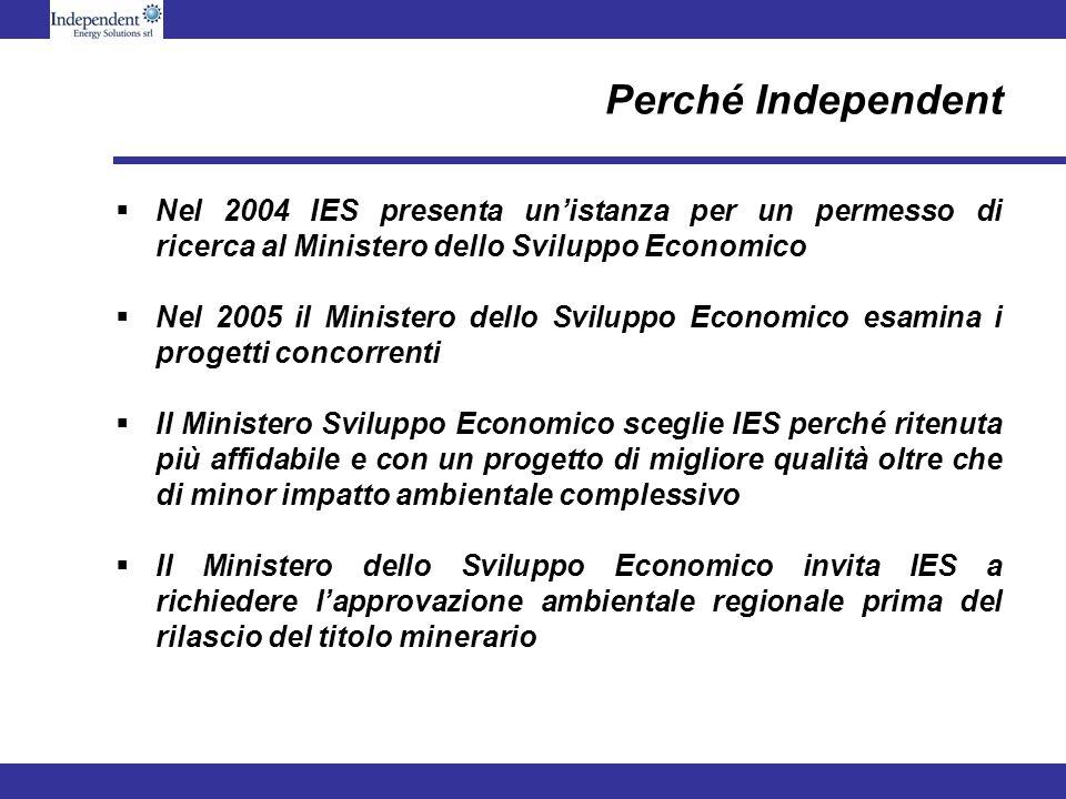 Perché Independent Nel 2004 IES presenta unistanza per un permesso di ricerca al Ministero dello Sviluppo Economico Nel 2005 il Ministero dello Svilup