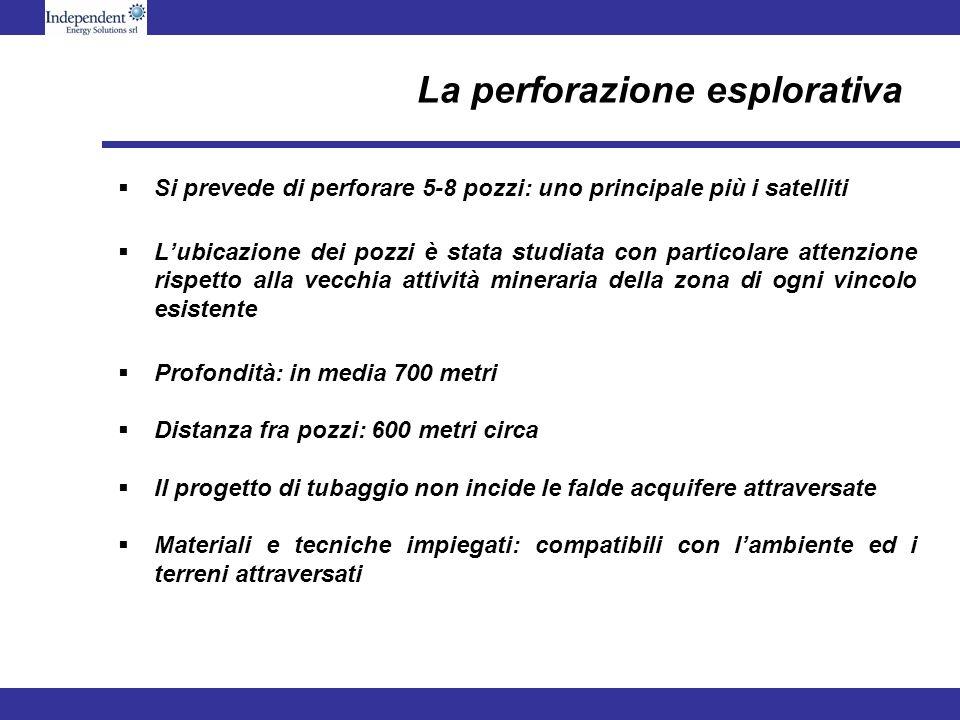 La perforazione esplorativa Si prevede di perforare 5-8 pozzi: uno principale più i satelliti Lubicazione dei pozzi è stata studiata con particolare a