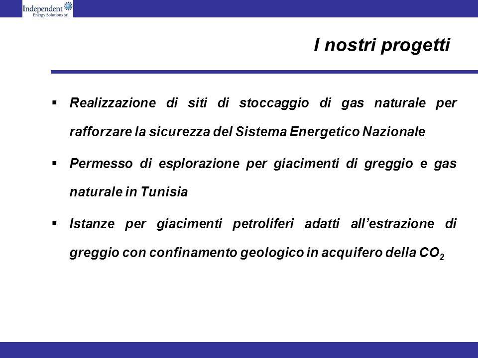 I nostri progetti Realizzazione di siti di stoccaggio di gas naturale per rafforzare la sicurezza del Sistema Energetico Nazionale Permesso di esplora