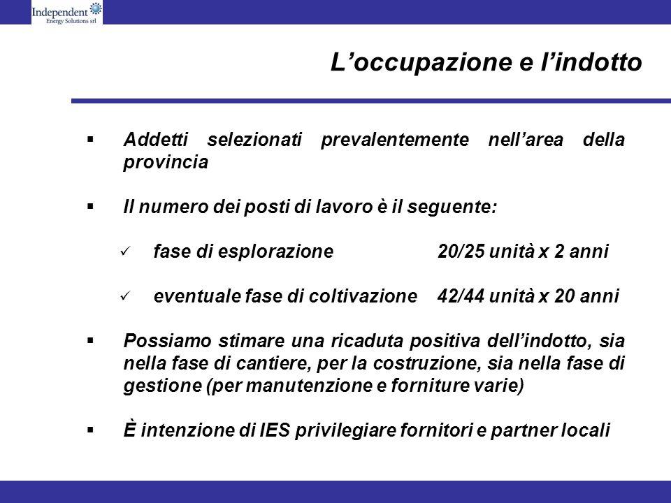 Loccupazione e lindotto Addetti selezionati prevalentemente nellarea della provincia Il numero dei posti di lavoro è il seguente: fase di esplorazione