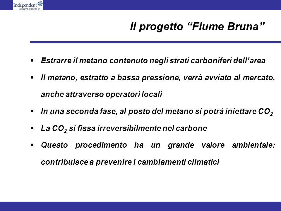 Il progetto Fiume Bruna Estrarre il metano contenuto negli strati carboniferi dellarea Il metano, estratto a bassa pressione, verrà avviato al mercato