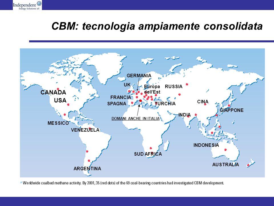 CBM: tecnologia ampiamente consolidata DOMANI ANCHE IN ITALIA CANADA USA CINA UK MESSICO VENEZUELA SUD AFRICA AUSTRALIA INDIA RUSSIAEuropa dellEst SPA