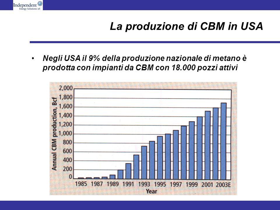 La produzione di CBM in USA Negli USA il 9% della produzione nazionale di metano è prodotta con impianti da CBM con 18.000 pozzi attivi