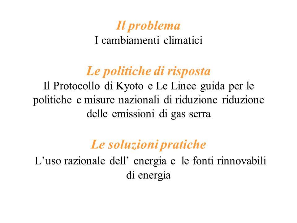 Il problema I cambiamenti climatici Le politiche di risposta Il Protocollo di Kyoto e Le Linee guida per le politiche e misure nazionali di riduzione