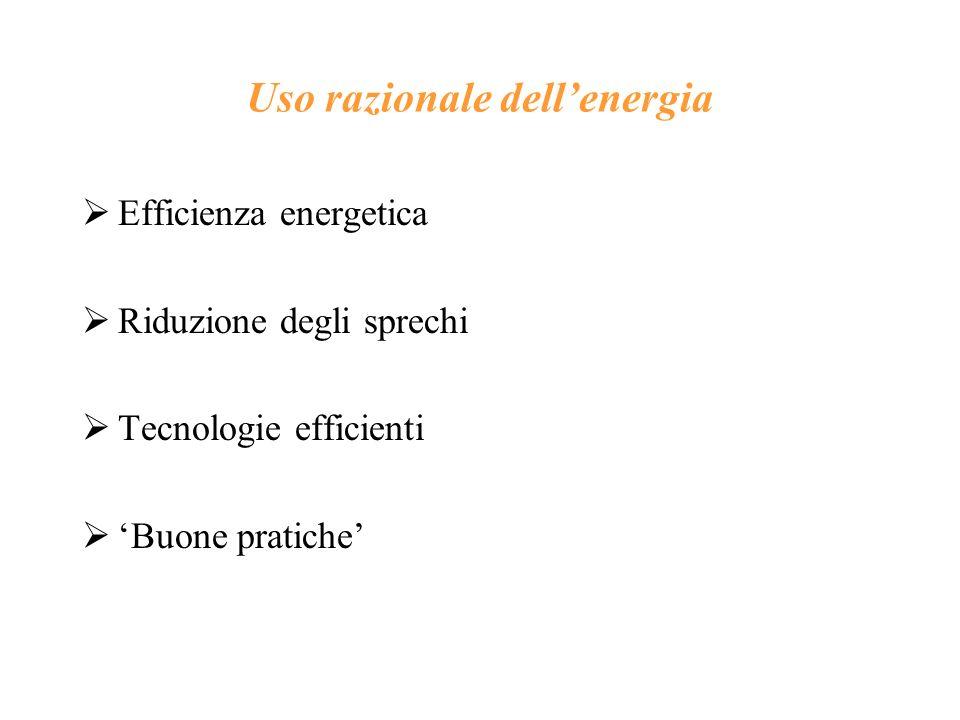 Uso razionale dellenergia Efficienza energetica Riduzione degli sprechi Tecnologie efficienti Buone pratiche